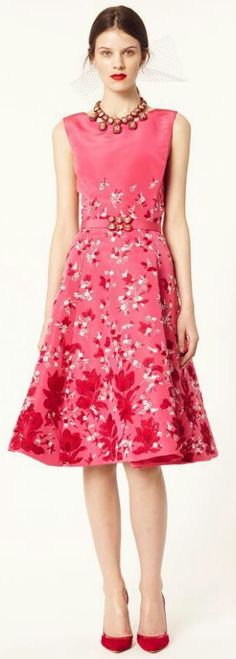 Oscar de la Renta, 2014. pink floral cocktail dress, I love the length!