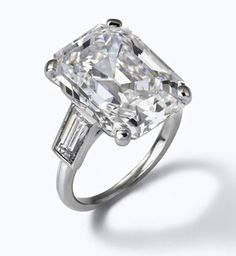 Prince Rainier II of Monaco presented Grace Kelly with this 10.5 carat emerald-cut diamond engagement ring from Cartier.