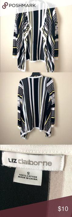 Striped oversized open cardigan Liz Claiborne oversized striped open cardigan. Size small but could also fit a medium. Perfect with leggings! Liz Claiborne Tops