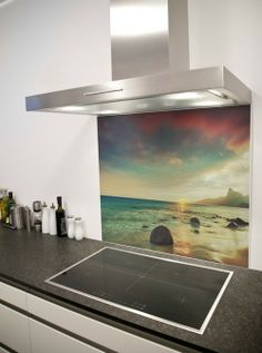 Kitchen:Extraordinary Beach Photo In Kitchen Glass Backsplash With Kitchen Stove Exhaust Also Marble Kitchen Table And White Wall Its Inspiring To Kitchen Makeovers Design Ideas Some Ideas of Bespoke Kitchen Glass Backsplash to Kitchen Makeovers Kitchen Wall Colors, Kitchen Wall Art, Kitchen Cabinets Decor, Kitchen Backsplash, Countertop, Printed Glass Splashbacks, Mall, Kitchen Layouts With Island, Best Kitchen Designs