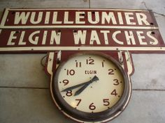 VINTAGE NEON ELGIN WATCHES CLOCK SIGN 2 TWO SIDED ORIGINAL ADVERTISING