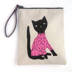 Black Cat Wristlet Pouch