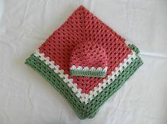 Crocheted Granny Square Baby Blanket/ Stroller Blanket/ Travel Blanket/ with Hat Set