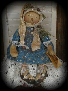 Primitive Olde Thyme Winter Snow Gal Doll #NaivePrimitive