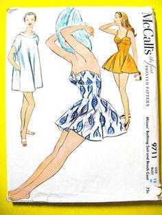 Uncut 1950s Bathing Suit Swimsuit Beach Coat is Cut, Strapless McCall's 9711…