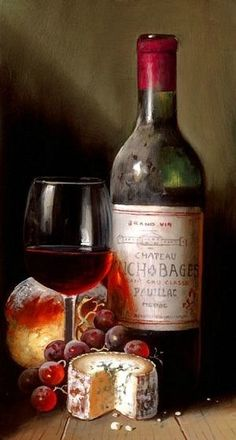 Still life of wine fruit and cheese by raymond campbell for Wine painting san antonio