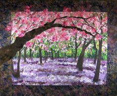 RESERVED for Theca  Quilted Cherry Blossom Wall por SallyManke