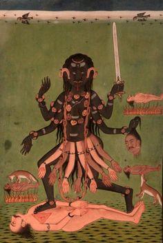 kali standing on shiva.negative space organized in the shape of divine mother Kali Shiva, Kali Hindu, Kali Ma, Hindu Art, Mother Kali, Divine Mother, Indian Gods, Indian Art, Jaisalmer
