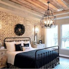 Lovely Farmhouse Bedroom Design Ideas Match For Any Home Design - Decoration for All Modern Farmhouse Bedroom, Modern Bedroom Design, Master Bedroom Design, Farmhouse Style, Farmhouse Design, Bedroom Designs, Farmhouse Decor, Farmhouse Ideas, Modern Bedrooms