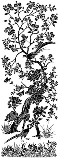 Chinoiserie stencil panel