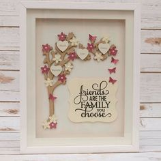 Friendship Family Tree Beautiful Framed Arched Tree with personalised hearts wooden tree flower and butterfly embellishments and quote which reads