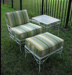 Vintage metal patio furniture cushions 48 New Ideas Patio Vintage, Vintage Outdoor Furniture, Metal Patio Furniture, Patio Furniture Cushions, Shabby Chic Furniture, Furniture Design, Vintage Metal, Modern Furniture, Antique Metal