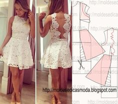 Lace open back dress pattern