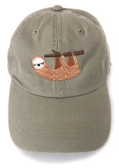 Sloth embroidered baseball cap by squarepaisleydesign on Etsy