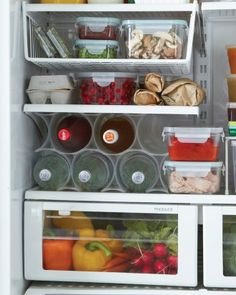 Hanging Fridge Storage  To prevent small goods from getting lost in the shuffle, give them their own room with a viewwith below-shelf hangi...