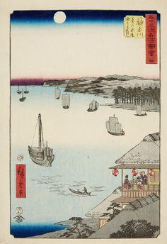 Utagawa Hiroshige (1797–1858)  Two ôban from the series Gojûsan tsugi meisho zue. Signed: Hiroshige hitsu. Publisher: Tsutaya Kichizô. Censor: aratame. Date: 7/1855. a) No. 4. Title: Kanagawa, dai no chaya kaijô miharashi. River view under full moon. b) No. 5. Title: Hodogaya, Kyôboku tateba Kamakurayama enbô. Tea stalls. (2) Very good impressions, still very good colours, slightly rubbed and soiled at margins, a) creased.