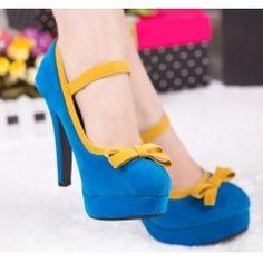 Cheap pumps round toe suede bowtie fashion heels SY-C2379 blue