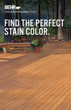 Picking out a wood-stain can be tough. But with the Wood Stain Color Selector from BEHR®, you can match your wood's color with a fresh new coat of stain, or find the perfect new color with ease. Whether you are looking for a solid color stain, semi-transparent stain, or transparent stain, we have the right color for your project. Click to explore our stain colors. Today Let's Stain™.