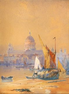 Artwork by Thomas Bush Hardy, Boats in Venice, Made of Watercolor