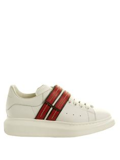 ALEXANDER MCQUEEN Raised-Sole Embellished Leather Trainers. #alexandermcqueen #shoes #sneakers