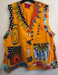 Marigold Cotton Upcycled Hand Painted artist vest by monapaints, $269.00 | Wearable Art