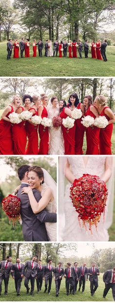 Ardent, Red-Inspired Wedding in St. Louis - Be inspired by Nicole & Dan's romantically red wedding at the Four Seasons in St. Louis, Missouri - four seasons st. louis, red-inspired wedding, wedding ceremony, bride, groom, wedding inspiration, couture wedding, luxury wedding, bridesmaids, lazaro, wedding dress, red bouquet, white bouquet, wedding party photos