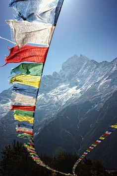 touch the earth. Prayer flags in Nepal