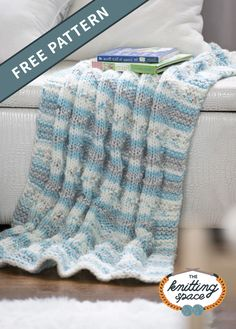Whether they cuddle it at naptime or enjoy it at playtime, this striped knitted blanket is a delightful addition to your baby's nursery. This easy-to-knit pattern is ideal for beginners so craft a few pieces for more lovely presents. | Discover over 4,000 free knitting patterns at theknittingspace.com #knitpatternsfree #chunkyknits #chunkyyarns Easy Knitting Patterns, Free Knitting, Knitting Projects, Baby Knitting, Afghan Patterns, Soft Baby Blankets, Knitted Baby Blankets, Knitted Cushions, Free Baby Stuff