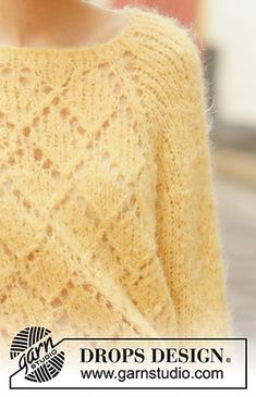 Ravelry: Miss Lemon pattern by DROPS design Sweater Knitting Patterns, Knit Patterns, Free Knitting, Baby Knitting, Drops Design, Knit Fashion, Top Pattern, Lemon Drops, Ainsi