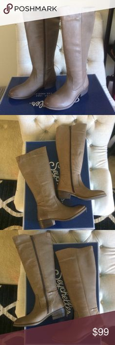 """New Seychelles taupe leather long knee boots Downsizing my shoe collection. Need cash more than I need shoes. Shoes are brand new in box w/ wrapping, etc. Medium taupe color (see second pic for color in daylight)  that goes with every color. Leather upper has natural animal texture and has natural leather markings from manufacturing process. Fits me 7.5 even with fleece leggings. 🔥🔥🔥Price Firm - Leather construction - Heavy seam detail - Side zip closure - Approx. 15"""" shaft height, 16""""…"""