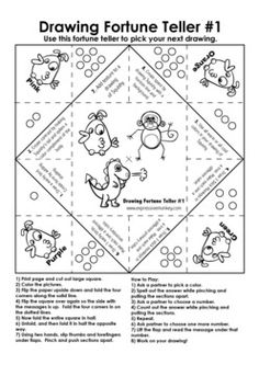 Drawing Fortune Teller #1 - Use this fortune teller to pick your next drawing.  This is a fun way to teach and review the elements and principles of design.  Each drawing choice include at least one element or principle of design.