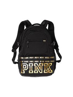 Victoria secret pink backpack Black And White Backpacks, Black And White Bags, Gold Backpacks, Cute Backpacks, Black Gold, Backpacks From Pink, College Backpacks, Vs Pink Backpack, Black Backpack