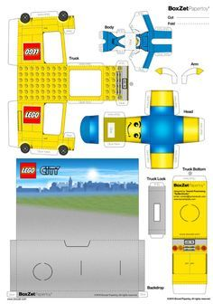 Blog Paper Toy papercraft Lego Truck template preview Papertoy LEGO Truck de BoxZet Paper Model Car, Paper Models, Legos, 3d Templates, Lego Boxes, Lego Truck, Lego Birthday Party, Dollhouse Toys, Paper Houses