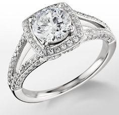 Monique Lhuillier split shank halo engagement ring. Ok...Damn
