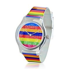 Bling Jewelry Geneva Purple Blue Yellow Green Pink Funky Stripes Kids Watch Cheap Silver Jewelry, Bling Jewelry, Blue Yellow, Purple, Pink, Green, G Shock Watches, Taste The Rainbow, Color Stripes