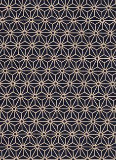 Navy Asanoha Hemp Leaf Japanese cotton fabric for by KimonoARTUK, £12.00: