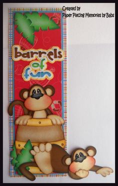 Monkey Fun Border Premade Paper Piecing Die Cut for Scrapbook Page by Babs created by Paper Piecing Memories by Babs