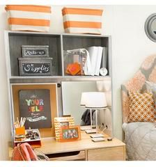 A dorm room desk isn't just for studying and storing books. It often serves as a vanity to do makeup and hair, as well as a catch all for pretty much everything! Dorm Decor offers a variety of dorm room cubbies that fit perfectly in any college dorm room. Dorm Room Desk, College Dorm Rooms, College Life, College Board, College Essay, Dorm Life, Desk Cubby, Country Interior Design, Pull Out Bed
