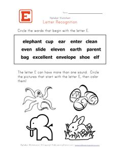 Letter E  Alphabet Recognition Worksheet  Kids Learning Station