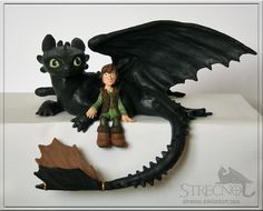 Toothless and Hiccup Sculpture by Strecno.deviantart.com on @deviantART