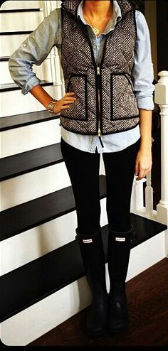 Chambray, herringbone vest, black leggings or pants, black rain boots