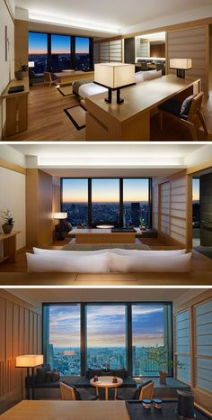 Often Japanese design can be seen as very minimalist in its design, with bare rooms, white or concrete walls and minimal furniture, but these hotel suites at the new Aman Tokyo, show that Japanese design can also be warm and welcoming.