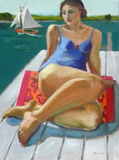 On The Dock, figurative painting, figure in art, contemporary figurative artist, woman, paintings of women, colorful figuration, painting by artist Marie Fox