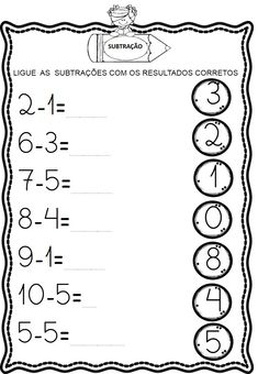 Atividades de Subtração para 1º ano - Danieducar Toddler Learning Activities, Math Activities, Kids Learning, Kindergarten Math Worksheets, Alphabet Worksheets, Math Subtraction, Preschool Writing, Reading Comprehension Worksheets, Math For Kids