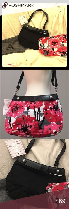 Thirty-One 31 Purse with interchangeable bottoms Purse with black bottom, grey with 'A' embroidery, and bold bloom floral print. Thirty-One 31 brand. Thirty-One Bags Shoulder Bags