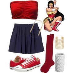 """DIY Wonder Woman Halloween Costume!"" by elhaleyferrante on Polyvore"