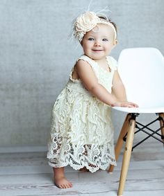 Look what I found on #zulily! Cream Lace Overlay Dress - Infant, Toddler & Girls by Lollies and Lace Boutique #zulilyfinds
