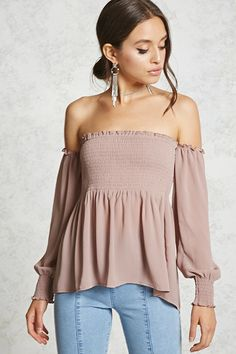 Forever 21 Contemporary - A crinkled woven top featuring a smocked bodice, an off-the-shoulder neckline, a peplum waist, shirred trim, and long sleeves.