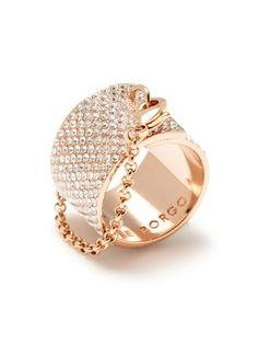 Eddie Borgo Rose Gold Pave White Diamond Encrusted Band Ring with Rose Gold Chain by Portero Luxury
