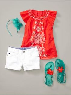 Tunic is $29.95. The stain-seeking shorts are $24.95. Don't care about the jellies or headband as much.